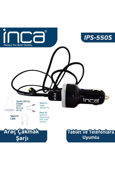 Inca Univarsal Tablet Uyumlu Araç Şarjı Siyah Renk Ips-550S