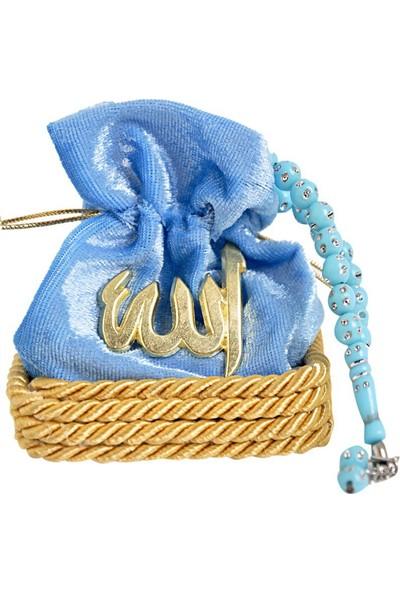 İhvan Kadife Kese Kutulu Tesbih Mavi 50 Adet