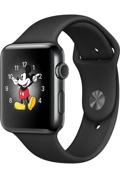 Apple Watch Seri 2 38 mm Uzay Siyahı Paslanmaz Çelik Kasa ve Siyah Spor Kordon