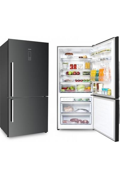 Silverline R12028B01 A+ 465 LT(Net) Kombi Tipi Siyah NoFrost Buzdolabı