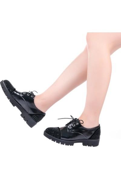 Modabuymus Cgr Siyah Rugan Taşlı Kadın Ayakkabı
