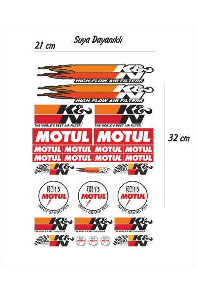 StickerMarket K&N Motul Sticker Seti