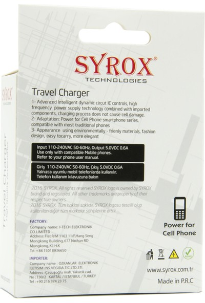 Syrox D880 Şarj Aleti