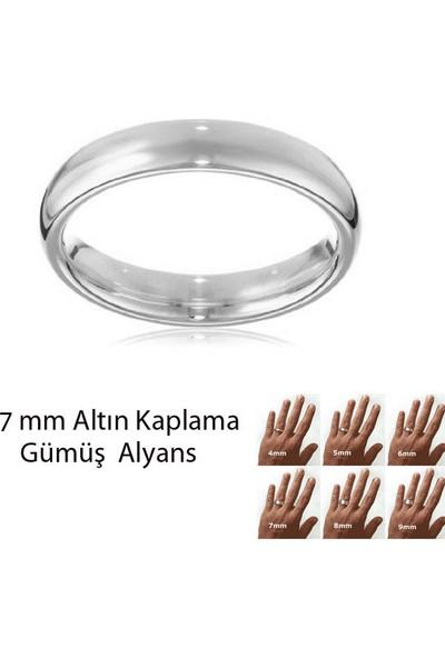 eJOYA Beyaz Altın Kaplama Gümüş Alyans 7 mm
