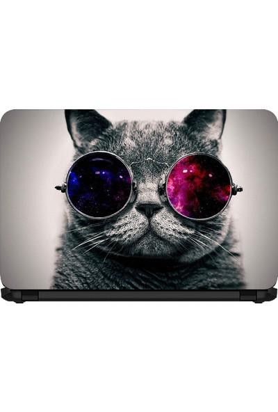15.6 INC Notebook Sticker Gözlüklü Çılgın Kedi