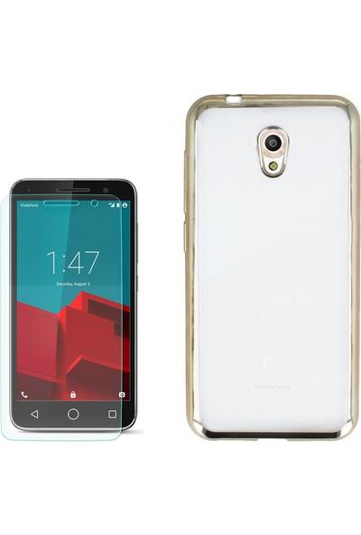 Gpack Vodafone Smart Style 7 Kılıf Lazer Silikon 0.3Mm + Cam