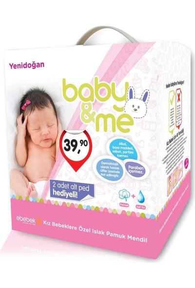 baby&me Islak Yenidoğan Pamuk Mendil Kız 12 Paket