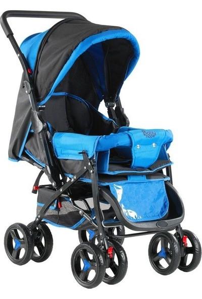 Babyhope 604-25 Çift Yönlü Bebek Arabası - Mavi Siyah