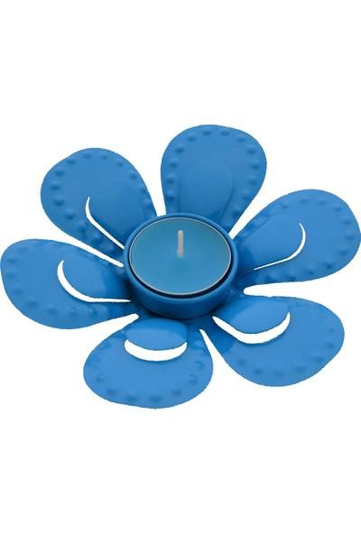 Tealigt Mumluk Metal Çiçek Mavi