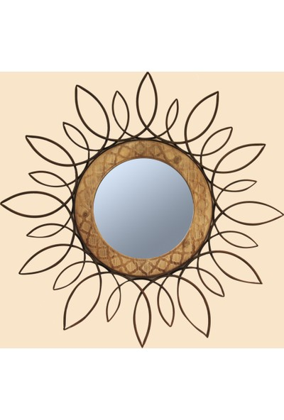 Fidex Home Dekoratif Metal-Ahşap Ayna
