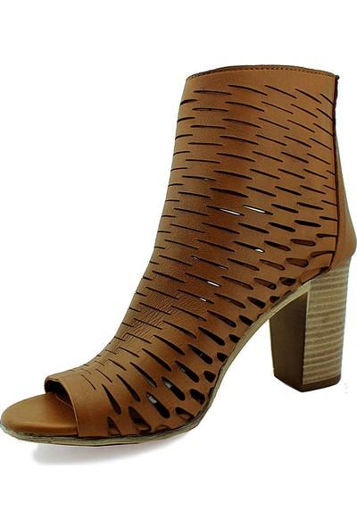 Mammamia D16Ya-3440 Topuklu Deri Kadın Ayakkabı Taba