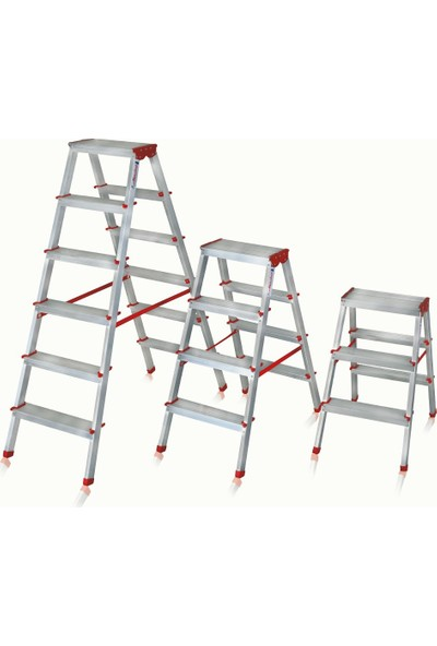 Akrobat 9+9 Basamak Çift Çıkışlı Çift Taraflı Alüminyum Merdiven