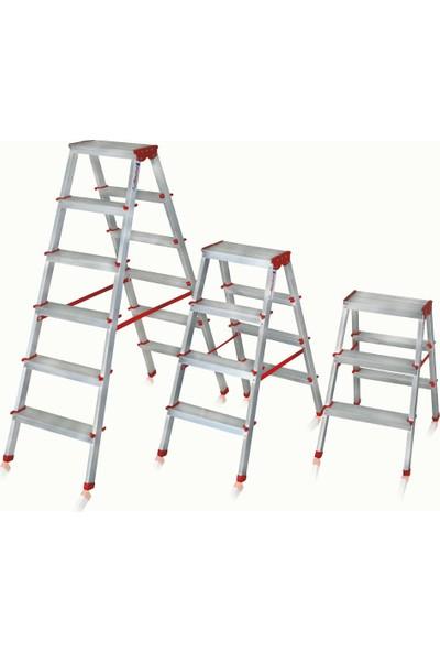 Akrobat 4+4 Basamak Çift Çıkışlı Çift Taraflı Alüminyum Merdiven