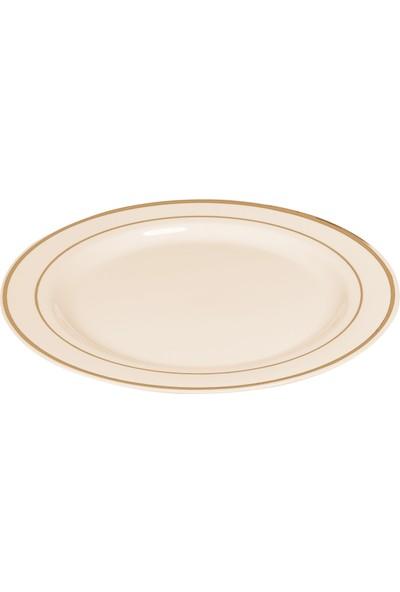 Kullanatmarket Porselen Görünümlü Gold Plastik Tabak 26 Cm - 6 Adet