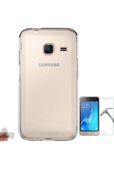 Teleplus Samsung Galaxy J1 Mini Korumalı Silikon Kılıf + Cam Ekran Koruyucu
