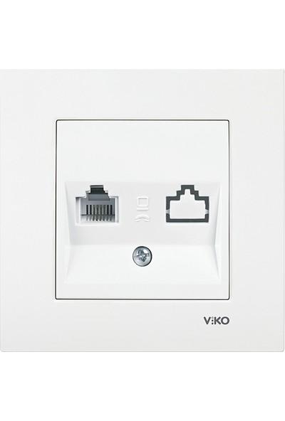 Viko Karre Beyaz Nümeris Telefon Prizi Rj11 (Çerçeveli)
