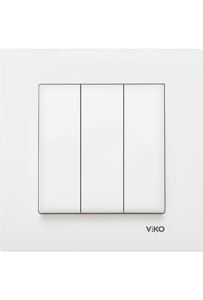 Viko Karre Beyaz 3' Lü Anahtar Çerçeveli