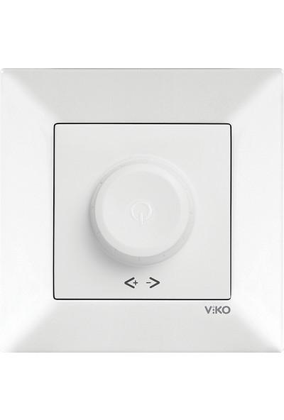 Viko Meridian Beyaz Rotatif Dimmer Anahtar Çerçeveli (600W)