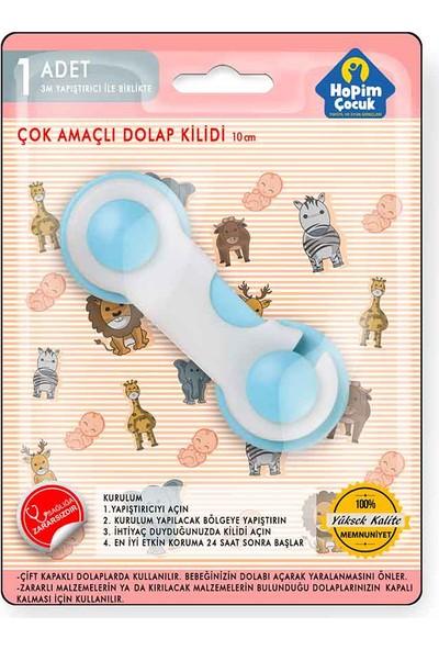 Hopim Çocuk Çift Kapılı Dolap Kilidi -Mavi + 3 M Bant 2'Li Paket