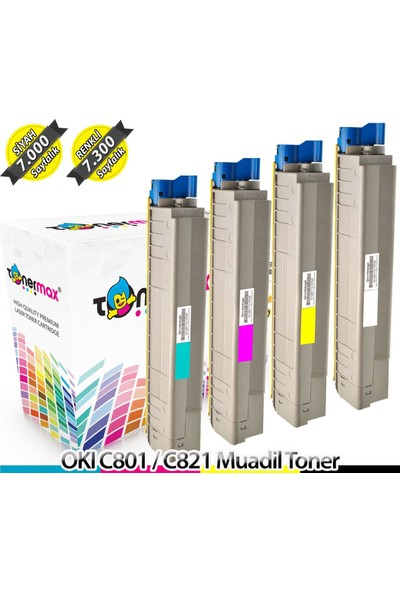 Toner Max® Oki C801 / C821 Muadil Toner - 1 Set Cmyk