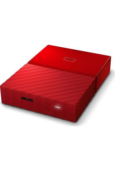 """WD My Passport 4TB 2.5"""" USB 3.0 Kırmızı Taşınabilir Disk WDBYFT0040BRD"""