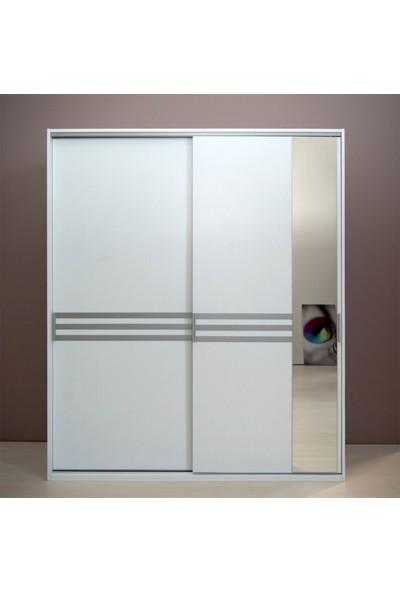 Tdesigno Doruk Aynalı Sürgü Kapaklı 2 Çekmeceli Gardırop - Beyaz
