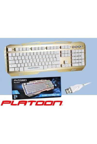 Platoon Pl-475 Usb Kablolu Işıklı Şık Tasarım Multimedia Klavye