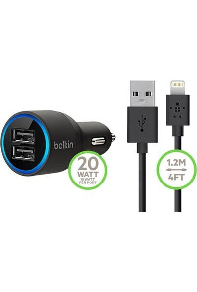 Belkin Çift Çıkışlı Araç Şarj Cihazı 4.2 Amper + Lightning Kablo - Siyah - BLK-710