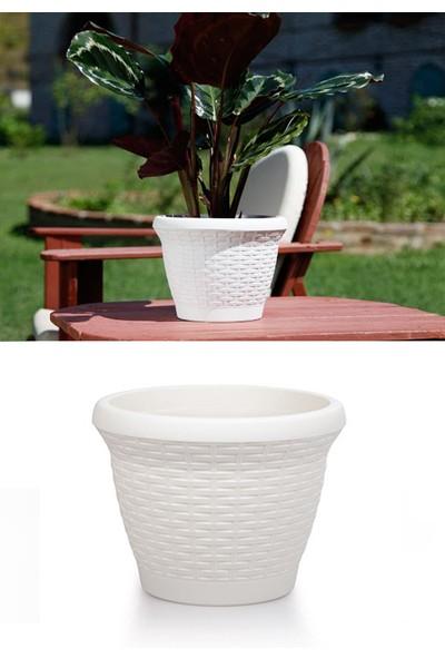 Mini Garden Hasır Saksı 15 LT Beyaz