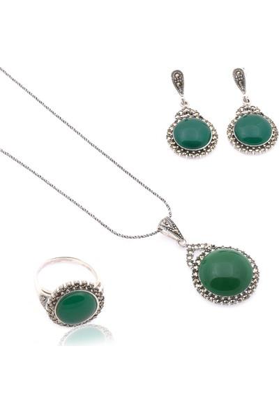 Akyüz Gümüş Yeşil Akik Taşlı Markazit Gümüş Set