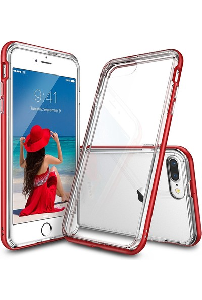 Ringke Frame iPhone 7 Plus Çerçeveli Bumper Kılıf Blaze Red - Extra Tam Koruma