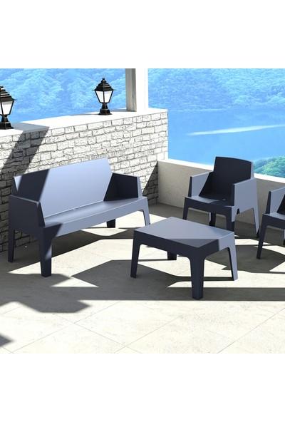 Siesta Contract Box Large Koltuk Seti - Siyah - Balkon Bahçe Mobilyası