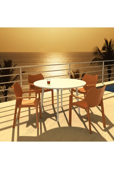 Siesta Contract Diva Yuvarlak Masa Takımı - Beyaz Sandalye - Balkon Bahçe Mobilyası