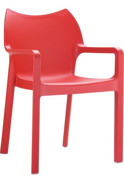 Siesta Contract Diva Yuvarlak Masa Takımı - Kırmızı Sandalye - Balkon Bahçe Mobilyası