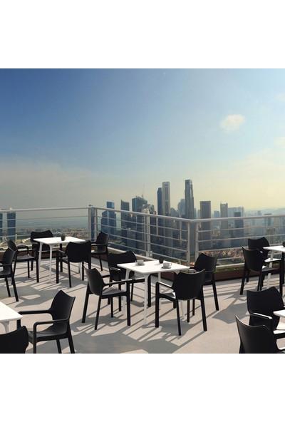 Siesta Contract Diva Kare Masa Takımı - Beyaz Sandalye - Balkon Bahçe Mobilyası