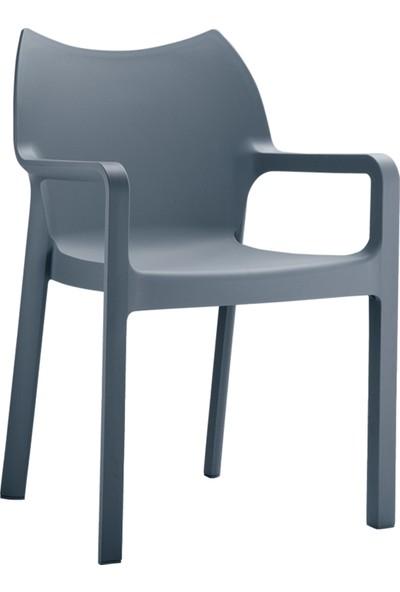 Siesta Contract Diva Kare Masa Takımı - Koyu Gri Sandalye - Balkon Bahçe Mobilyası