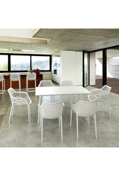 Siesta Contract Mayair XL Dikdörtgen Masa Takımı - Koyu Gri Sandalye - Balkon Bahçe Mobilyası