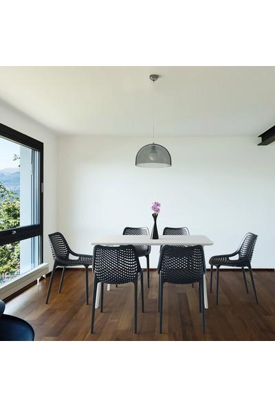 Siesta Contract Mayair Dikdörtgen Masa Takımı - Yeşil Sandalye - Balkon Bahçe Mobilyası