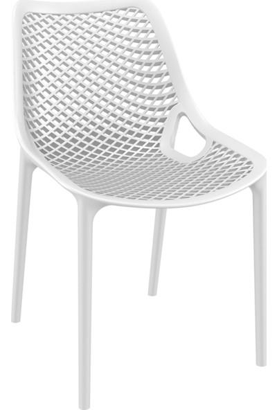 Siesta Contract Air 80X140 cm Dörtgen - 6X Air - Lüx Masa Takımı - Beyaz Sandalye