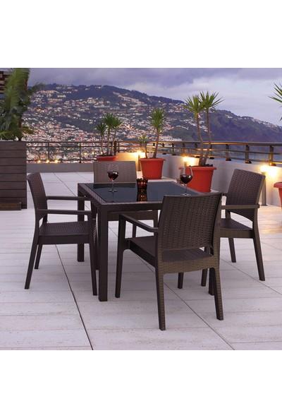 Siesta Rattan Baliza Kare Masa Takımı - Kahve - Balkon Bahçe Mobilyası