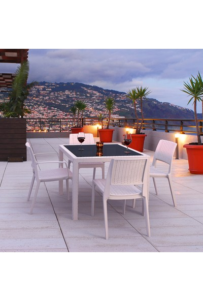 Siesta Rattan Balicap Kare Camlı Masa Takımı - Beyaz - Balkon Bahçe Mobilyası