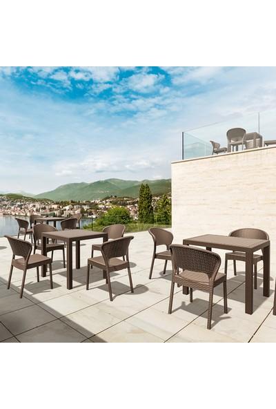Siesta Rattan Daytor Kare Masa Takımı - Kahve - Balkon Bahçe Mobilyası