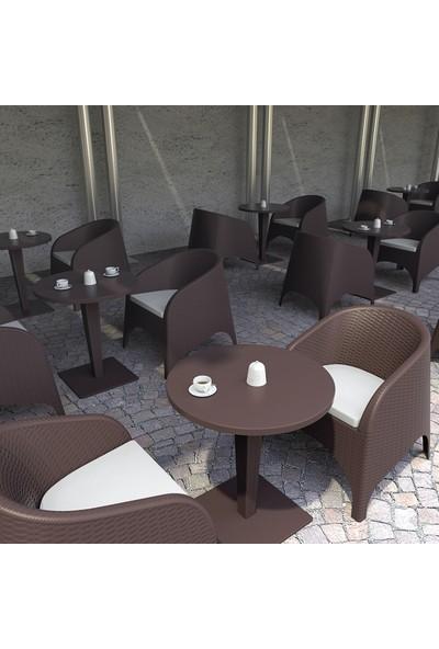 Siesta Rattan Ariva Yuvarlak Masa Takımı - Koyu Gri - Balkon Bahçe Mobilyası