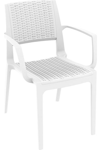 Siesta Rattan Capriva Yuvarlak Masa Takımı - Beyaz - Balkon Bahçe Mobilyası