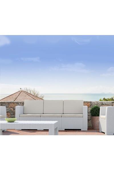 Siesta Rattan Monaco Üçlü Koltuk - Beyaz