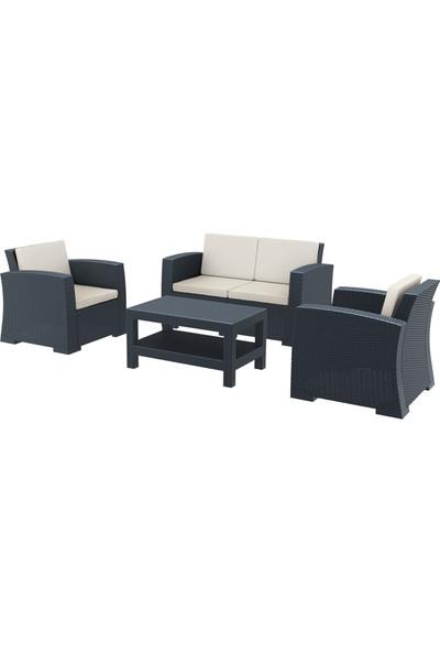 Siesta Rattan Monaco Lounge Koltuk Seti - Koyu Gri