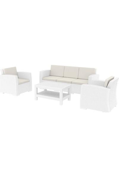 Siesta Rattan Monaco Lounge XL Koltuk Seti - Beyaz