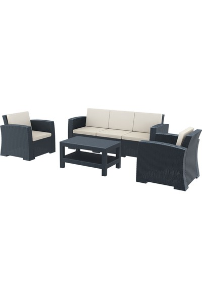 Siesta Rattan Monaco Lounge XL Koltuk Seti - Koyu Gri