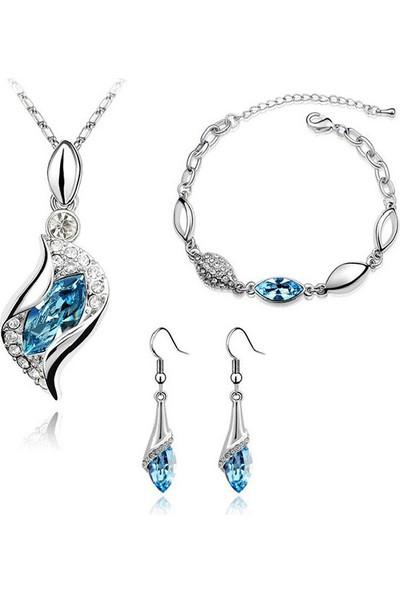 Modakedi Mavi Lale Figürlü Kristal Bayan Takı Seti