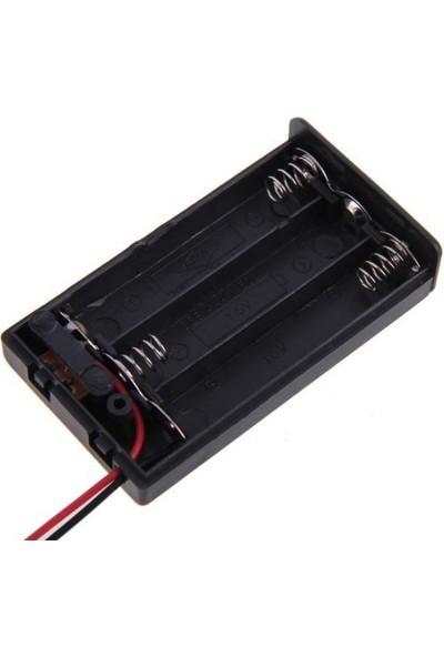 Electroon 3Lü Kalem Pil Kutusu Kapaklı Anahtarlı 3xAA